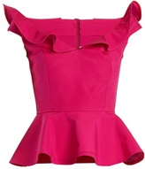 Emilio De La Morena Carelle ruffle V-neck peplum silk-blend top