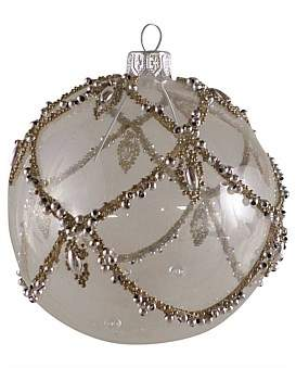 clear Christmas Shop Orn-Bauble W/ Silver Bead Swag 10Cm