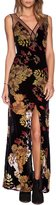 Haoduoyi Womens Deep V Neck Floral Print Long Dress With Tie Waist(XL,Multicoloured)