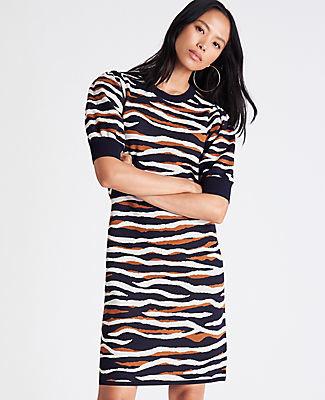 Ann Taylor Petite Tiger Print Puff Sleeve Sweater Shift Dress