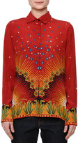 Valentino Long-Sleeve Mixed-Print Shirt, Red/Multi