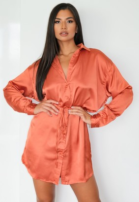 Missguided Rust Satin Self Tie Oversized Shirt Dress