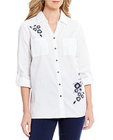 Intro Roll-Tab Sleeve Denim Floral Embroidered Button Front Shirt