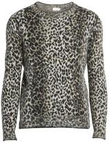 Saint Laurent Leopard Print Wool-Blend Pullover