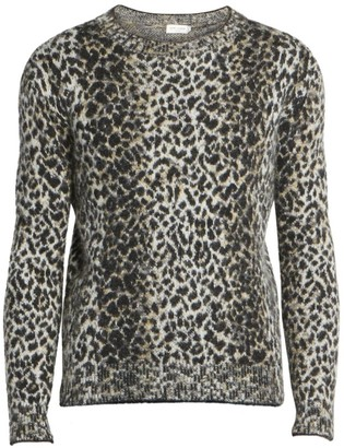 Saint Laurent Leopard Print Wool-Blend Pullover