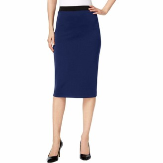 Alfani Womens Midi Scuba Pencil Skirt Blue US XXL