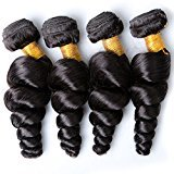 Vinsteen Top Quality 8A Malaysian Loose Wave Wavy Human Hair Weaves Malaysian Virgin Hair Loose Wave 4 Bundles Hair Extensions Can Be Dyed and Shedding Free (22 24 26 26)