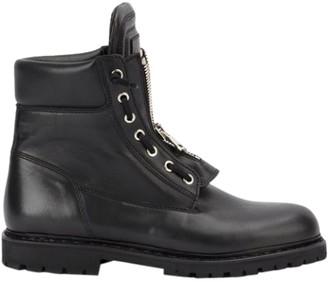 Balmain Black Leather Combat Boots