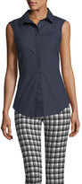 Derek Lam 10 Crosby Button-Front Sleeveless Poplin Shirt w/ Lace-Up Back