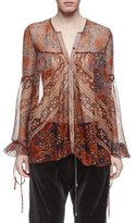 Chloé Button-Front Foulard-Print Blouse, Multi Colors