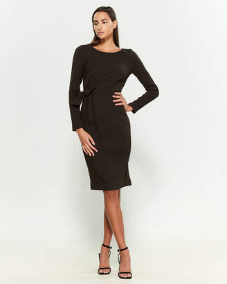 P.A.R.O.S.H. Long Sleeve Wool-Blend Bow Sheath Dress