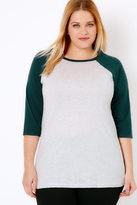 Yours Clothing Grey & Dark Green 3/4 Sleeve T-Shirt With Contrast Raglan Sleeves