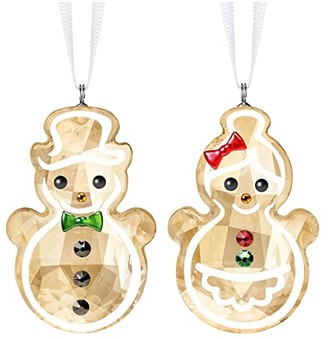 Swarovski Gingerbread Snowman Couple Ornament (Light Multi) Hair Accessories