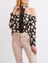 Charlotte Russe Floral Lace-Trim Mock Neck Top