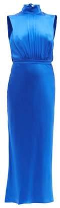 Saloni Fleur High-neck Silk-satin Midi Dress - Womens - Blue