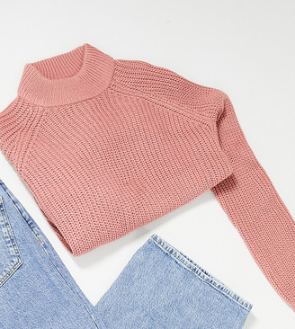 Vero Moda Petite exclusive jumper with high neck in pink