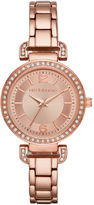 Liz Claiborne Womens Crystal Accent Rose-Tone Sunray Dial Bracelet Watch
