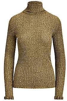 Polo Ralph Lauren Women's Metallic Knit Turtleneck Sweater