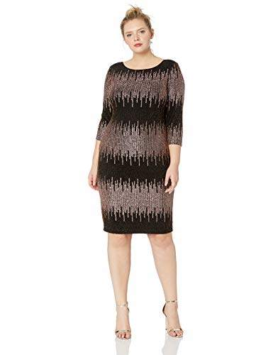 Women\'s Plus Size Sequin Lace Fit and Flare Dress