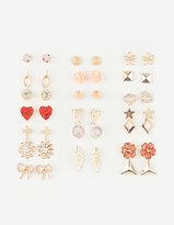 Full Tilt 20 Pairs Heart/Flower Earrings