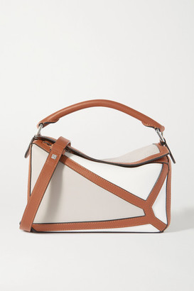 Loewe Puzzle Small Two-tone Leather Shoulder Bag - White