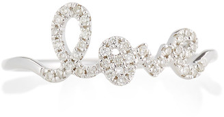 Sydney Evan 14k White Gold Diamond Love Script Ring, Size 6.5