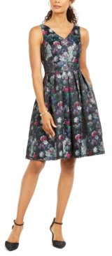 Tahari ASL V-Neck Fit & Flare Dress