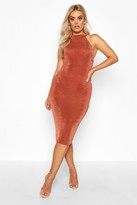 Thumbnail for your product : boohoo Plus High Neck Textured Slinky Midi Dress