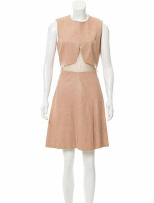 Cushnie et Ochs Leather Sheer-Accented Dress w/ Tags Nude