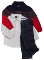 Nautica Baby Boys Sweater, Sportshirt and Jeans Set