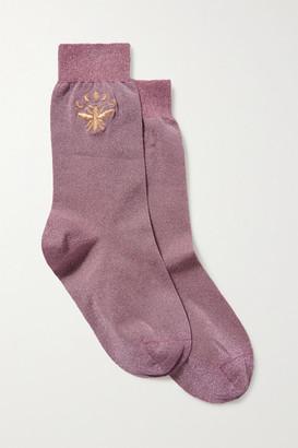 Maria La Rosa Embroidered Metallic Stretch-knit Socks - Lavender