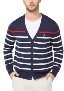 Nautica Men's Striped V-Neck Button Cardigan