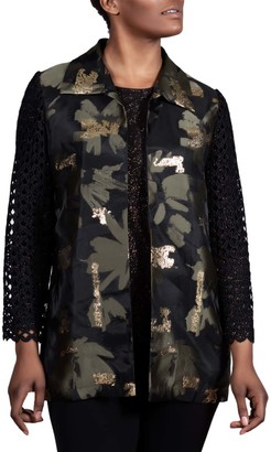 Berek Studio Women's Non-Denim Casual Jackets OLI - Black & Gold Metallic Net-Sleeve Jacket - Women