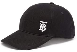 Burberry Monogram Embroidered Cotton Baseball Cap - Mens - Black