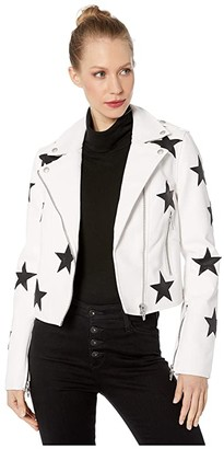 Blank NYC Faux Leather Moto Jacket with Star Detail in Kick Off (Kick Off) Women's Clothing