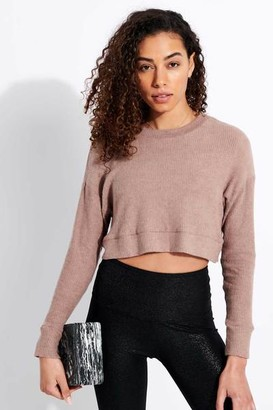 Beyond Yoga In Line Cropped Pullover Tinted Rose Heather - M