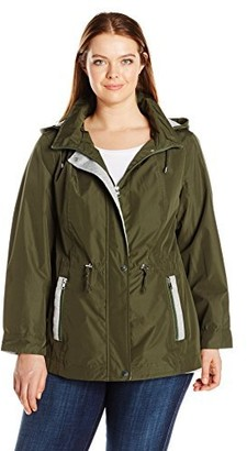 Details Women's Plus Size Mixed Media Anorak with Sweatshirt Fleece Trim