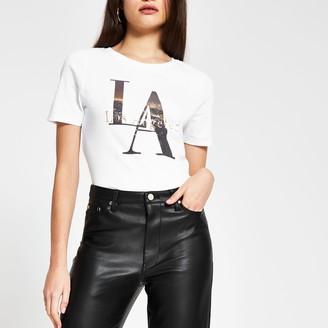 River Island Womens White short sleeve 'Los Angeles' t-shirt