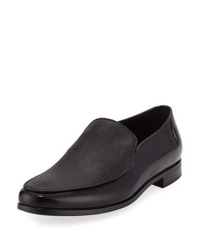 Giorgio Armani Grained & Smooth Leather Venetian Loafer, Black