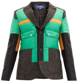 Junya Watanabe Technical-panel Single-breasted Tweed Blazer - Green Multi