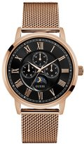 GUESS Men's Rose Gold-Tone and Black Mesh Watch