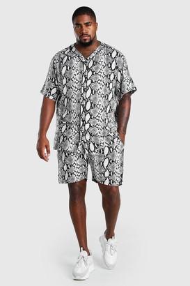boohoo Mens Black Big And Tall Baseball Shirt and Short Set, Black