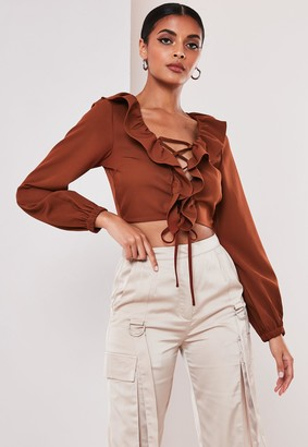 Missguided Rust Frill Collar Lace Up Crop Top