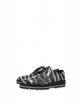 Moschino Lace-up Shoes With Zip Print Man Black Size 39 It - (6 Us)