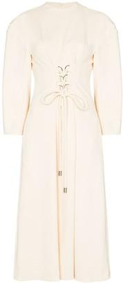 Tibi Corset-Style Front Midi Dress