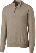 Cutter & Buck Taupe Douglas Half-Zip Wool-Blend Pullover - Big & Tall