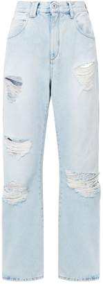 Off-White Off White Embroidered Distressed Relaxed Jeans