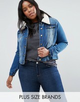 Brave Soul Plus Denim Jacket With Faux Shearling Collar