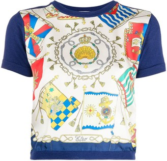 Etro Cropped Printed Silk Front Knitted Top