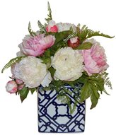 The French Bee Peonies In A Blue And White Vase
